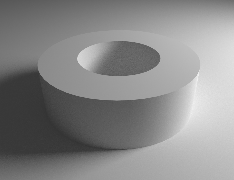 Rendered image of smooth disc with sharp edges